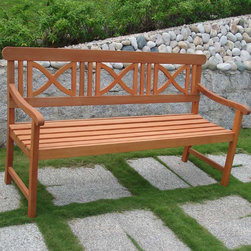 "Vifah - Outdoor Wood Bench - Design: The Balthazar Bench is a classic beautiful model to decorate your garden . A well-crafted bench will provide an elegant design as well as serve as a necessary element to your outdoor living area. Featuring beautiful High Density Eucalyptus. Material: High Density Eucalyptus (or also known as Shorea in our line) is the premium grade of solid Eucalyptus Gradis hardwood, grown in 100 % well managed forests in Brazil, certified by the FSC (Forest Stewardship Council). There is little difference between High Density Eucalyptus (Shorea) and Teak when broken down to their core essence. The biggest attribute of High Density Eucalyptus (Shorea) is undoubtedly the strength of the timber. Its renowned for its excellent resistance to every day wear and tear. It is extremely durable and tightly grained to produce a desirable density. It remains unaffected by all variations in weather, especially its resistance to damp conditions makes itself extremely competent at combating insect attacks and decay. Features: Wooden bench is expertly kiln-dried and extremely durable for outdoor/indoor use. FSC High Density Eucalyptus (Shorea) is mold, mildew, fungi, termites, rot and decay-resistant. FSC High Density Eucalyptus (Shorea is also environmentally-friendly and harvested from protected forests. Dimensions: Length: 65""; Width: 24""; Height: 34"""