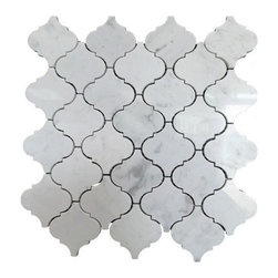 """GL Stone - Arabesque Marble Mosaic Tile 12.50"""" X 12.50"""", White, 1 Carton, 15 Sheets - Arabesque Mosaic Tile comes with polished surface and looks like lantern shaped. Our arabesque marble wall & floor Tiles are perfect choices to enhance the interior decor, such as bathroom wall, kitchen back splash, surround wall, etc. It will sell by 12.50"""" X 13.50"""", 1.17 square feet per sheet. The color also use the popular white with grey veins."""