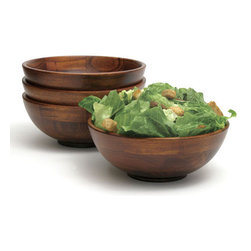 Set of 4 Individual Cherry Wood Salad Bowls - I like the dark wood. I also really like the price for a set of four — a total deal.