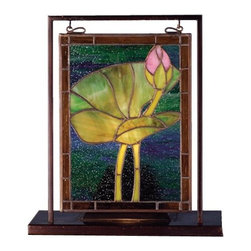 Meyda Tiffany - Meyda Tiffany Waterlily Mini Table Top Window X-35386 - From the Waterlily Collection, this Meyda Tiffany mini table top window features a single waterlily with its lone pink bud. The lily is floating aimlessly in blue-green water, while brown trim and a solid brass frame completes the look. This charming design is constructed of hand-crafted stained glass window with copperfoil construction.