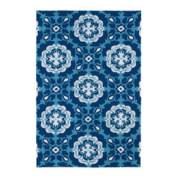 Kaleen - Kaleen Matira Collection MAT12-17 2'X6' Blue - Matira is inspired from the absolutely beautiful and breathtaking secluded beaches of Bora Bora. White powdery sand, crystal clear blue waters, and the lush botanical surroundings embrace every aspect of this collection. Each rug is UV protected and handmade with 100% Polypropylene. Complete with our special  K-Stop Non-Skid Backing , Matira will be your perfect anchor to a magical getaway.