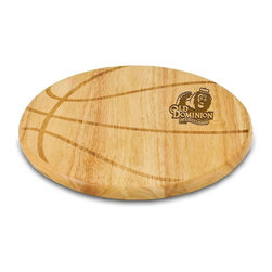 """Picnic Time - Old Dominion University Free Throw Cutting Board - The Free Throw cutting board is a 12"""" round x 0.75"""" board made of eco-friendly rubberwood in a basketball design, with 104 square inches of cutting surface. It can be used as a cutting board or serving tray, or use both sides of the board, one for cutting and the other for serving. The backside of the board has is blank, with no design. Score with your guests when you show them your Free Throw! (Point of sale Cutting Board Display Rack (899-00-505) available. See item for details.); College Name: Old Dominion University; Mascot: Monarchs; Decoration: Laser Engraving"""