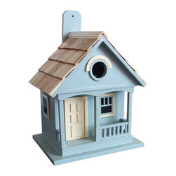 """Home Bazaar Inc. - Pacific Grove Birdhouse - If you take the famous 17 Mile Drive North from Pebble Beach to Lighthouse Avenue, you'll soon be in the charming village of Pacific Grove, where you will find cottages just like this one. Common nesting birds such as wrens, finches and chickadees will appreciate the comforts of this functional birdhouse. A removable back wall, pine shingled roof and 1 1/4"""" entry hole are just some of the features."""