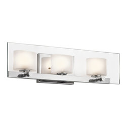 Kichler Lighting - Kichler Lighting Como Modern / Contemporary Bathroom / Vanity Light X-HC27154 - This versatile 3 light halogen wall fixture from the Como&trade: collection leaves a soft, subtle impression. The clean detailing, Polished Chrome finish, Clear Glass Paneling and Etched Glass Shades creates a delicate, luminous accent for any space.