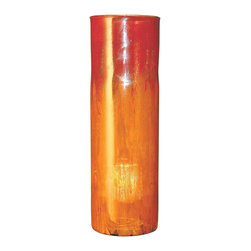 "Couleur - Orange Glow Tall Glass Cylinder - Handcrafted by artisan glass blowers the Orange Glow Tall Glass Cylinder is a wonderfully decorative and functional art glass accessory.  Because this is made of hand blown glass measurements are approximate - Each item will vary slightly in size and color.Specifications Dimensions: Are approximate because of the handmade nature of this product. (diameter x height) Overall: D 7"" x H 22"" (approximately)Made in: Mexico (MEX)  Style: Room: Living Room, Dining Room, OfficeUse: Decoration Only - Home Accent, Table Top Decor, Wall Decor, Shelf DecorIndoor / Outdoor: IndoorCare: Wipe clean with a soft damp cloth."