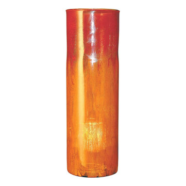 """Couleur - Orange Glow Tall Glass Cylinder - Handcrafted by artisan glass blowers the Orange Glow Tall Glass Cylinder is a wonderfully decorative and functional art glass accessory.  Because this is made of hand blown glass measurements are approximate - Each item will vary slightly in size and color.Specifications Dimensions: Are approximate because of the handmade nature of this product. (diameter x height) Overall: D 7"""" x H 22"""" (approximately)Made in: Mexico (MEX)  Style: Room: Living Room, Dining Room, OfficeUse: Decoration Only - Home Accent, Table Top Decor, Wall Decor, Shelf DecorIndoor / Outdoor: IndoorCare: Wipe clean with a soft damp cloth."""