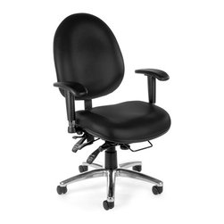 OFM - 24 Hour Computer Mid-Back Confrence Chair - This multi-shift chair can handle continuous sitting, 24 hours day, 7 days week. Plus, it can handle weight capacity up to 400 lbs. multiple ergonomic adjustments allow incredible custom configuration, for complete and total comfort 24 hours day. Great for businesses who require around-the-clock staffing, like hospitals and police stations. Features: -Seat swivels 360 degrees.-Gas lift Seat height adjustment.-Smooth seat tilting action.-Tilt tension adjusts easily.-One-touch sliding seat depth adjustment with seat pitch adjustment.-Back height, depth and pitch adjustment.-Synchronized seat & back adjustment.-Adjustable height and width arms.-Built-in lumbar support with molded polypropylene back.-Stain-resistant fabric.-Designed and built for 24-hour/multi-shift use.-Meets or exceeds ANSI/BIFMA standards.-Arm height from floor: 25.5''.-Standard casters included.-Collection: 24 Hour.-Distressed: No.-Upholstered: Yes .Dimensions: -Seat dimensions: 19'' - 22'' H x 20.25'' W x 20'' D.-Seat thickness: 5''.-Back dimensions: 19.5'' x 21''.-Back thickness: 3.75''.-Overall dimensions: 40'' - 43.5'' H x 28.5'' W x 28.5'' D.-Overall Product Weight: 65 lbs.