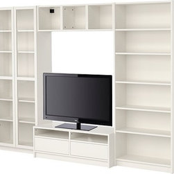 Gillis Lundgren/IKEA of Sweden/K Hagberg/M Hagberg - BILLY Bookcase combination with TV bench - Bookcase combination with TV bench, white