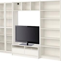 Gillis Lundgren/IKEA of Sweden/K Hagberg/M Hagberg - BILLY Bookcase combination with TV bench - Bookcase combination with TV bench, white