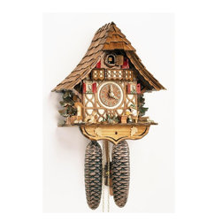 Schneider Cuckoo Clocks - 8-Day 11 in. Chalet Black Forest House Cuckoo Clock - Original individual hand laid wooden shingles. 8-day rack strike movement. Wooden cuckoo calls and strikes every half and full hour. Wooden cuckoo, dial with roman numerals and hands. Beer drinker lifts and beer glass at every full and half hour. Shut-off lever on left side of case silences strike, call and music. Made from wood. Antique finish. Made in Germany. 11 in. W x 6.5 in. D x 12.6 in. H (11.5 lbs.). Care Instructions