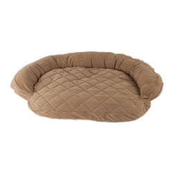 Frontgate - Microfiber Quilted Bolster Dog Pet Bed Dog Bed - Choose from sage or chocolate. Moisture barrier protection for accidents. Zipped removable cover is machine washable. The ultimate in comfort and luxury for your pet, the Microfiber Quilted Bolster Bed features a plush diamond-quilted fabric. The high loft recycled polyester fill keeps your furry friend healthy and happy by relieving pressure on hips and joints.  .  .  . Imported.