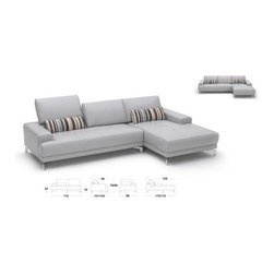 Hokku Designs - Urban Leather Left- Chaise Sectional - Wrapped in sumptuous leather, the addition of the sleek Urban sectional will immediately reinvent any living space. The Urban sectional is crafted with clean lines, tasteful chrome legs and three independent motion backrests. This smooth, solid metal mechanism allows for individualized seating comfort and stylistic preference. The versatile Urban sectional will not only impress your guests, but also serve as the favorite spot of your domain for years to come. Features: -Two-piece sectional incorporates contemporary design with impeccable workmanship.-Sumptuous premium top grain leather on seating surface and backrest with split leather on sides and back.-Heavy duty, yet ultra smooth, the innovative push back backrest is utilitarian and designed to last a long time.-Reinforced corner blocks for added strength.-Interwoven webbed base with no-sag sinuous spring suspension.-High density foam seating for superior comfort and longevity.-Kiln dried solid wood frame construction for durability.-Distressed: No.Dimensions: -Overall dimensions: 31'' - 35'' H x 106'' W x 40'' - 68'' D.-Overall Product Weight: 268 lbs.