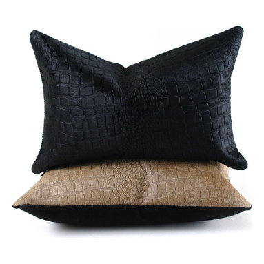Pfeifer Studio - Crocodile Embossed Cowhide Pillow - This statement-making pillow in cowhide embossed with the look of crocodile has a black linen back. The emboss on this decorative throw pillow can soften with heavy use and it is not recommended for commercial spaces. Each is fitted with a medium-fill feather and down inner and finished with a hidden zipper. Our pillows are each individually handmade-to-order using natural materials, each is considered unique and one-of-a-kind.