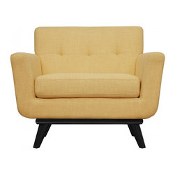 TOV Furniture - James Chair | Mustard Yellow Linen - Transitional design of James Chair that combines Mid-Century style with modern quality craftsmanship will fit into a plethora of decors. Constructed from handcrafted kiln dried wood frame with solid birch legs, soft cushioned arms, and Mustard Yellow linen upholstery with small scale tufting.