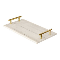 Worlds Away Lincoln Tray, Brass - White marble tray with brass or nickel handles.