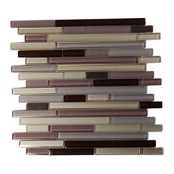 "Tao Cinnabar Glass Tile - sample-TAO CINNABAR 1/4 SHEET GLASS TILES SAMPLE You are purchasing a 1/4 sheet sample measuring approximately 3 "" x 12 "". Samples are intended for color comparison purposes, not installation purposes. -Glass Tiles -"