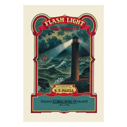 """Buyenlarge.com, Inc. - Flash Light: March Two-Step- Paper Poster 20"""" x 30"""" - Edward Taylor Paull (1858 - 1924) was a prolific publisher of sheet music marches. His songs gained acclaim more from the cover art of the sheet music than often from the lyrics and tune."""
