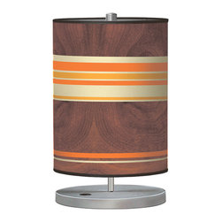 jefdesigns - Horizontal Stripey 2 Cylinder Table Lamp - Get into the groove with this retro-inspired, striped cylindrical lamp! A perfect accent for any table in your home that needs a little playfulness, this light is grounded by the wood-grain backdrop and the sleek metal base.