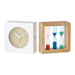 Three Color Hourglass Alarm Clock - I love the combination of white and wood here. The juxtaposition of the clock and hourglass is really interesting to me as well.