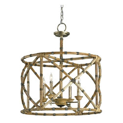 Currey and Company - Palm Beach Lantern - Appealing in its simplicity and form, the Palm Beach lantern showcases a great combination of bamboo and wrought iron with its graceful curves and detailing. The hand finishing process used on this chandelier lends an air of depth and richness not achieved by less time-consuming methods.