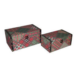 Cheung's - Home Decor Seasonal Gift Set Of 2 Flat Top Keepsake Box With Patchwork Design - Nested for Space Saving. Metal Hook Latch. Vinyl Border with Metal Studs and Linen Box .