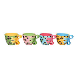 ATD - 3 Inch Colorful Leopard Print Teacups with Bow Handles, Set of 4 - This gorgeous 3 Inch Colorful Leopard Print Teacups with Bow Handles, Set of 4 has the finest details and highest quality you will find anywhere! 3 Inch Colorful Leopard Print Teacups with Bow Handles, Set of 4 is truly remarkable.