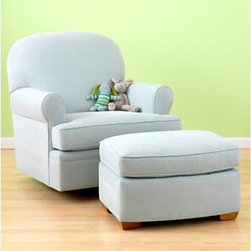 Light Blue Swivel Glider Chair - At the LA boutique I ran, a swivel glider was among the most popular and essential items for parents. They raved about its surprising capabilities (hey, you'll be spending hours in this thing) as well as the simple beauty. This Dylan Swivel is a prime example of functional beauty for rocking your newbie.
