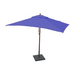 Greencorner - 10'x6.5' Mahogany Umbrella, Ocean Blue - 10'x6.5' Rectangle
