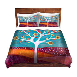 DiaNoche Designs - Duvet Cover Microfiber - Amber - DiaNoche Designs works with artists from around the world to bring unique, artistic products to decorate all aspects of your home.  Super lightweight and extremely soft Premium Microfiber Duvet Cover (only) in sizes Twin, Queen, King.  Shams NOT included.  This duvet is designed to wash upon arrival for maximum softness.   Each duvet starts by looming the fabric and cutting to the size ordered.  The Image is printed and your Duvet Cover is meticulously sewn together with ties in each corner and a hidden zip closure.  All in the USA!!  Poly microfiber top and underside.  Dye Sublimation printing permanently adheres the ink to the material for long life and durability.  Machine Washable cold with light detergent and dry on low.  Product may vary slightly from image.  Shams not included.