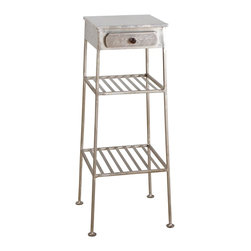 Mini Metal Side Table - Reclaimed iron gives this sweet, petite table eco style and vintage luster. With one small drawer and two open shelves, it's a charming option for next to your reading chair, or stacked with plants out on the patio.