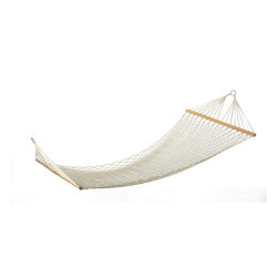 KOOLEKOO - Two-Person Hammock - Relax together on this sturdy cotton hammock built comfortably for two. A delightful retreat! Pillow not included. Max. Wt.: 440 lbs.