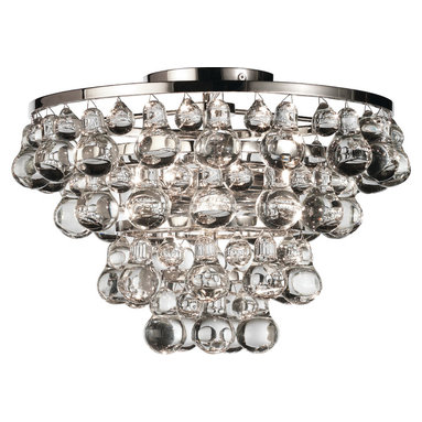 Robert Abbey - Bling Flushmount, Polished Nickel - 1970's meets galactic high style in this elaborate, mounted ceiling lighting spectacle. Glass bubbles dangle from a tiered flushmount ceiling lamp and dazzle you below.