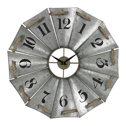 Aluminum And Rope Wall Clock - *Dimensions: 2L x 29W x 29H