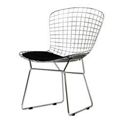 East End Imports - Bertoia Style Wire Side Chair In Silver Frame - The minimal nature of thisæBertoia Style Wire Side Chair is an asset for any lover of modern furniture. A simple yet stylish design evoking the height of modern classic design. As comfortable as it is attractive, this is the sort of accent chair that starts conversations.