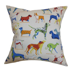 "The Pillow Collection - Wonan Dogs Print Pillow Multi - Show your love for your dogs by donning this accent pillow. This square pillow features a dog pattern in various breeds. The multicolored print makes this 18"" pillow a fun decor piece to add in your living room, bedroom or guestroom. Pair this fun throw pillow with other animal patterns from our pillow collection. This contemporary pillow is American-made and uses 100% soft cotton material. Hidden zipper closure for easy cover removal.  Knife edge finish on all four sides.  Reversible pillow with the same fabric on the back side.  Spot cleaning suggested."
