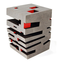 ecofirstart.com - Paper Side Table - It's a side table worthy to stand front and center in any contemporary art museum. Constructed of layers of recycled paperboard that have been laser cut and bolted, this stunning gray table has splashes of black and red peeking out for added intrigue.