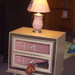 Hollywood Swank - Leather nightstand with crystal knobs and magnetic drawer glides.