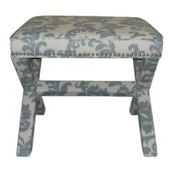 Safavieh - Eunice Ottoman - Whether you call it an X-bench or cross-bench, the Eunice Ottoman offers a designer look with all the trimmings.  Its classic form complements any design style from contemporary to traditional, and its custom look comes from a sophisticated mix of linen/cotton blend fabric with damask leaf pattern in slate and beige, and beautiful nickel nail head trim. The fully upholstered Eunice is ideal in pairs at the foot of the bed or in the living room, or use it alone as seating in a master bath.