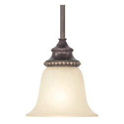 Dolan Designs Lighting - Mini-pendant with Caramelized Glass - 1751-148 - This elegant design features a small, bell-shaped shade and lovely ivory glass. The Phoenix finish enriches the light color of the shade. Beaded trim crowns the glass adding a fun texture. Includes one 6-inch and three 12-inch stem segments with an integrated sloped ceiling adapter. Takes (1) 60-watt incandescent A19 bulb(s). Bulb(s) sold separately. UL listed. Dry location rated.