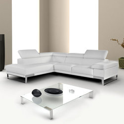Nicoletti - Nicoletti Italian Leather Domus Sectional Sofa with Left Facing Chaise, White - This premium leather sectional is an architecture of class and modernity. What makes this sectional exquisite is not a singular element, but a culmination of design, comfort, simplicity, and elegance. The Domus modern sectional features 3 seperate ratchet headrests, elegant chrome legs, and crafted from thick premium grade italian leather.