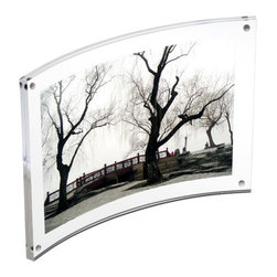 "Canetti - Original Magnet Frame, Curve, Clear, 8""x10"" - Your photos — not their frames — will be the center of attention in this picture display. Secured with small magnets, this simple frame creates a standout presentation of your image with its no-frills, curved silhouette."