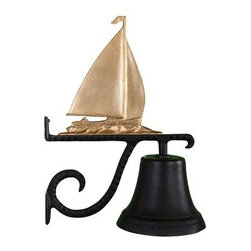 Cast Bell with Gold Sailboat Ornament - Everyone will know your sailboat is solid gold in your eyes with this Cast Bell with Gold Sailboat Ornament at your front door. This bell is crafted of strong aluminum with a gilded sailing boat silhouette, has a baked-on black enamel finish, and includes a decorative mounting brack.et