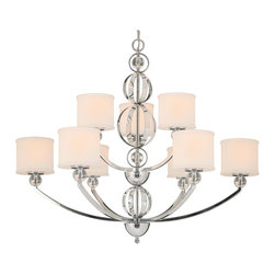 Golden Lighting - Golden Lighting Cerchi Chrome Nine-Light 37'' Wide Chandelier - Golden Lighting specializes in the design and manufacture of high quality residential lighting products and accessories. Since 1982 they've built a reputation on the outstanding value of their products and have carefully crafted an extensive range of product families that are designed to simplify the light buying decision and complement every room in the home. Golden Lighting's mission is to be every customer's premier choice for quality lighting products and service. Golden Lighting's core values are:   Provide superior customer service and quality products  Honor commitments be consistent and fair  Promote true teamwork based on cooperation trust and a positive attitude  Ensure company growth by generating reasonable profits and reinvesting those profits back into their people and products  Maintain a strong community presence  Continually seek improvement and innovation in every aspect of their business  Features include Sophisticated sleek modern style creates glamour Polished Chrome finish and clear acrylic accents mirror reflected light for an elegant gleam Drum-shaped Etched Opal glass on chandeliers and bath resembles a handmade fabric shade Column rings can be rotated for either a linear look or a whimsical feel Etched Opal glass A chandelier creates a stylish focal point Dramatically sized for prominent living and dining rooms or lobbies. Specifications Finish: Chrome Glass/shade Finish: Etched Opal Glass Safety Rating: ULCUL Fixture Application: Dry Location Energy Saver: No Energy Star Compliant: No Dark Sky Compliant: No Ada Compliant: No Title 24 Compliant: No Number Of Bulbs: 9 Max Wattage Per Bulb: 60W Total Wattage: 540W Bulb Type: Incandescent Type A Bulb(s) Included: No Chain Length: 6 Feet.