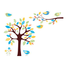 Imprinted Designs - Childrens Tree Decal w/ Branch & Birds Nursery Kids Playroom Vinyl - This Tree with Birds scene will add a beautiful touch to your nursery or playroom.