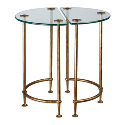 Aralu Glass Side Tables, S/2 - Each A Hand-crafted Work Of Forged Iron, These Half-circle Tables Stand Together Or Apart, Gleaming In Antique Gold With A Secured, Tempered Glass Top. Bulbs Included: No