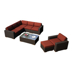 Harmonia Living - Arden 8 Piece Modern Patio Sectional Set, Henna Cushions - Entertain your guests in modern style and comfort with the 6 Piece Arden Sectional Set with Red Sunbrella® Cushions (SKU HL-ARD-6SEC-CH-HN). This set makes a practical choice for those who love showing theirs guests a good time with its comfortable, stylish design. The frames are made from thick-gauged aluminum and is wrapped with beautifully rich Chestnut finished wicker made from High-Density Polyethylene (HDPE). Each seat has plush, comfortable seat and back cushions that are covered in Sunbrella fabric, which is designed to be fast-drying and fade resistant, even in regular sun exposure. Teak wood feet sets this collection apart from others with a natural appeal that also elevates each piece for easy rearrangement.