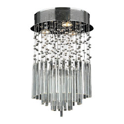 Worldwide Lighting - Torrent 3-Light Chrome Finish Raindrop Crystal Round Flush Ceiling Light - This stunning 3-light ceiling light only uses the best quality material and workmanship ensuring a beautiful heirloom quality piece. Featuring a radiant chrome finish and finely cut premium grade crystals with a lead content of 30%, this elegant ceiling light will give any room sparkle and glamour. Worldwide Lighting Corporation is a privately owned manufacturer of high quality crystal chandeliers, pendants, surface mounts, sconces and custom decorative lighting products for the residential, hospitality and commercial building markets. Our high quality crystals meet all standards of perfection, possessing lead oxide of 30% that is above industry standards and can be seen in prestigious homes, hotels, restaurants, casinos, and churches across the country. Our mission is to enhance your lighting needs with exceptional quality fixtures at a reasonable price.