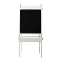 Martha Stewart Living - Martha Stewart Living™ Kids Craft Space Easel - Our versatile Martha Stewart Living™ Kids Craft Space Easel gives your child a variety of creative options. Each side of the easel features a chalkboard. One of the chalkboards is also a magnetic board, allowing your child to display favorite art pieces or play magnet games. A bar at the top of the easel stands ready to hold paper for drawing or painting. The accessory tray beneath the chalkboard will catch your child's chalk, pencils, brushes and more. Includes one chalkboard, one magnetic chalkboard, one bar for a paper roll and an accessory tray. Accessory tray includes four adjustable dividers and two fixed dividers. Paper and magnets not included.