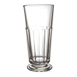 Perigord Highball - Regardless of the size of your gathering, Perigord glassware is certain to make an impression. The Highball glass from the collection exhibits the slight faceting and the practical uptown design sensibilities that make these handsome clear glasses so inviting. Nearly-straight walls and a round foot give both the appearance and the reality of stability in the design of the thick-walled drinking glass.