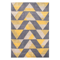Jaipur Rugs - Hand-Tufted Geometric Pattern Polyester Yellow/Gray Area Rug ( 7.6x9.6 ) - Style and value strike a perfect balance in Fusion, one of Jaipur's popular collections of contemporary hand-tufted rugs. This spirited series is guaranteed to make a statement in any room, with unexpected color combinations and attention-grabbing patterns. The Fusion Collection proves that fashion-forward doesn't have to carry an expensive price tag.